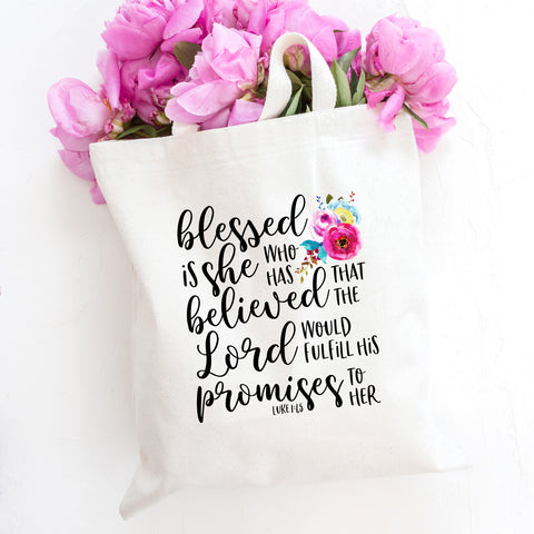 Blessed is She Who Has Believed Tote Bag - Bella Faith - Christian Shirts for Women - Women's Faith Based Apparel - Christian Clothing for Women - Christian Jewelry and Gifts for Women - Trendy Christian Tees