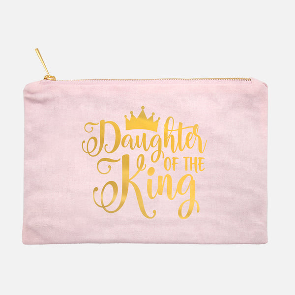 Daughter of the King Gold Foil Cosmetic Bag - Bella Faith - Christian Shirts for Women - Women's Faith Based Apparel - Christian Clothing for Women - Christian Jewelry and Gifts for Women - Trendy Christian Tees