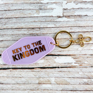 Key to The Kingdom Retro Motel Key Tag - Bella Faith - Christian Shirts for Women - Women's Faith Based Apparel - Christian Clothing for Women - Christian Jewelry and Gifts for Women - Trendy Christian Tees