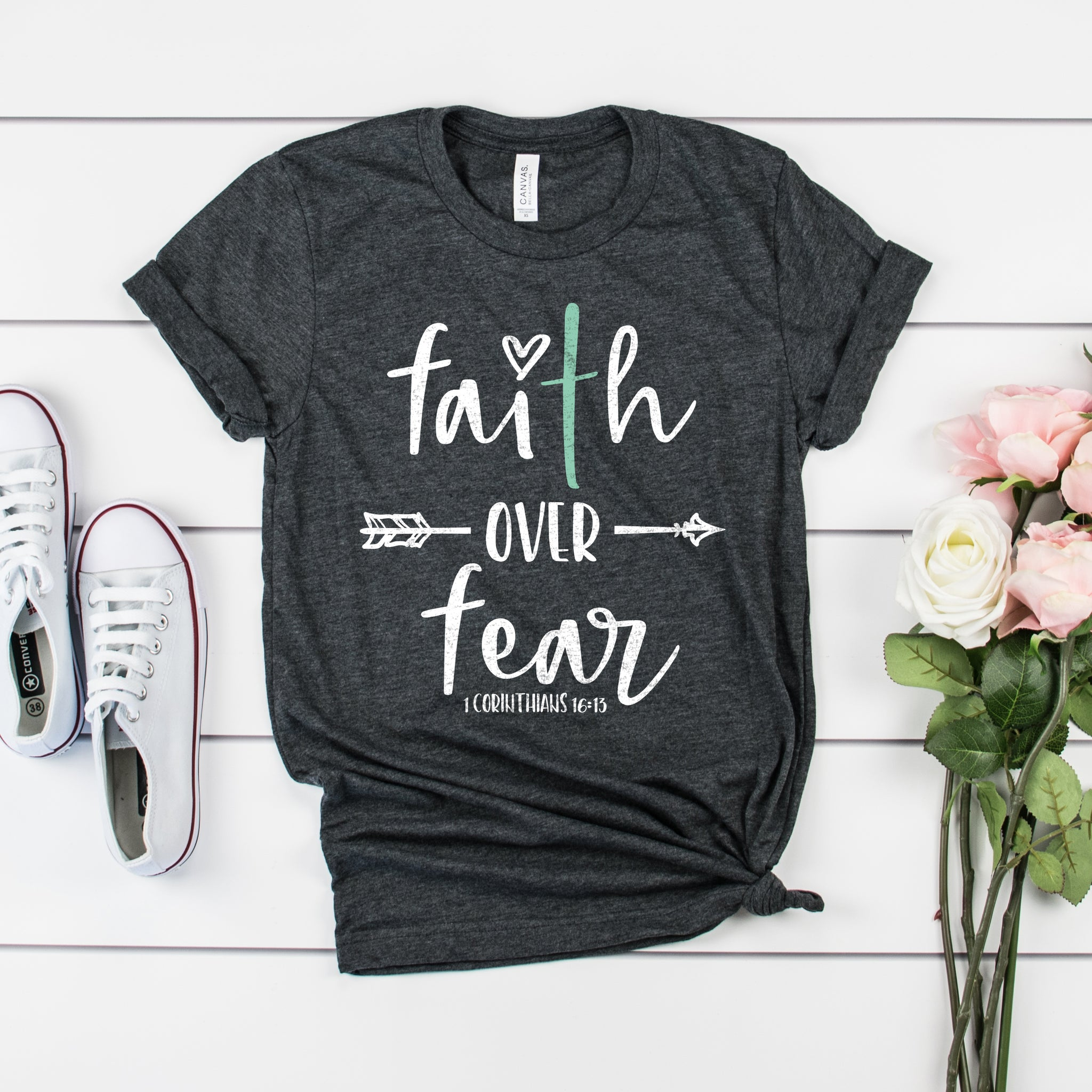 Faith Over Fear Short Sleeve Shirt - Bella Faith - Christian Shirts for Women - Women's Faith Based Apparel - Christian Clothing for Women - Christian Jewelry and Gifts for Women - Trendy Christian Tees