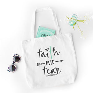 Faith Over Fear Tote Bag - Bella Faith - Christian Shirts for Women - Women's Faith Based Apparel - Christian Clothing for Women - Christian Jewelry and Gifts for Women - Trendy Christian Tees