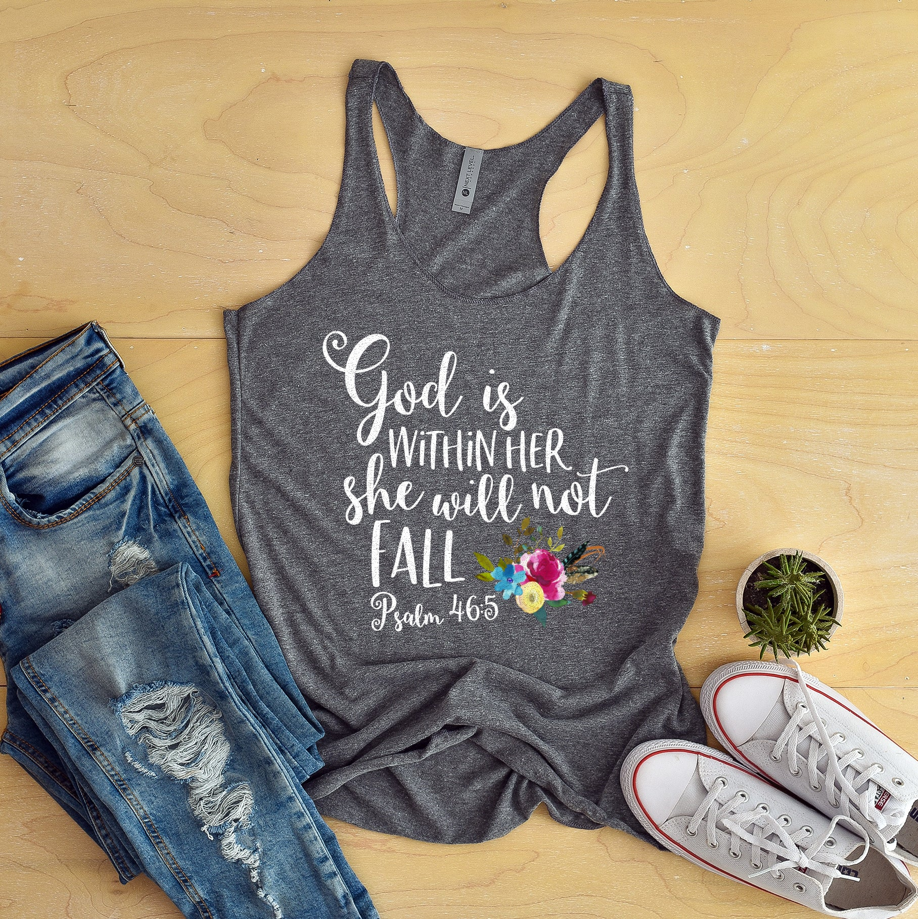 God Is Within Her She Will Not Fall Racerback Tank Top - Bella Faith - Christian Shirts for Women - Women's Faith Based Apparel - Christian Clothing for Women - Christian Jewelry and Gifts for Women - Trendy Christian Tees