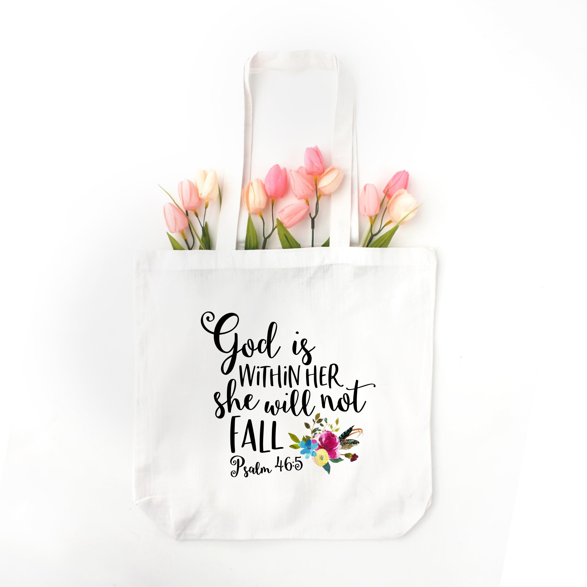 God Is Within Her She Will Not Fall Tote Bag - Bella Faith - Christian Shirts for Women - Women's Faith Based Apparel - Christian Clothing for Women - Christian Jewelry and Gifts for Women - Trendy Christian Tees