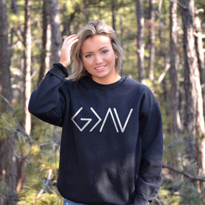 God is Greater Than the Highs and Lows Sweatshirt - Bella Faith - Christian Shirts for Women - Women's Faith Based Apparel - Christian Clothing for Women - Christian Jewelry and Gifts for Women - Trendy Christian Tees