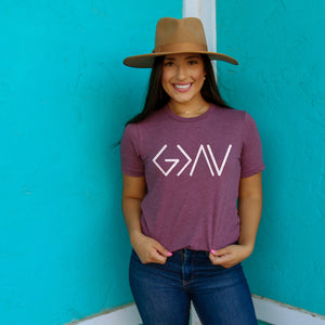 God is Greater Than the Highs and Lows Short Sleeve Shirt - Bella Faith - Christian Shirts for Women - Women's Faith Based Apparel - Christian Clothing for Women - Christian Jewelry and Gifts for Women - Trendy Christian Tees