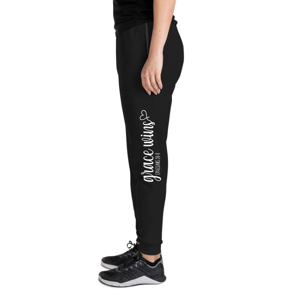 Grace Wins Sweatpants - Bella Faith - Christian Shirts for Women - Women's Faith Based Apparel - Christian Clothing for Women - Christian Jewelry and Gifts for Women - Trendy Christian Tees
