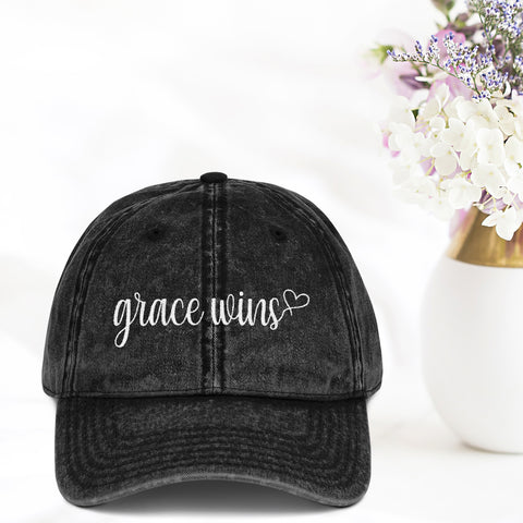 Grace Wins Vintage Hat - Bella Faith - Christian Shirts for Women - Women's Faith Based Apparel - Christian Clothing for Women - Christian Jewelry and Gifts for Women - Trendy Christian Tees