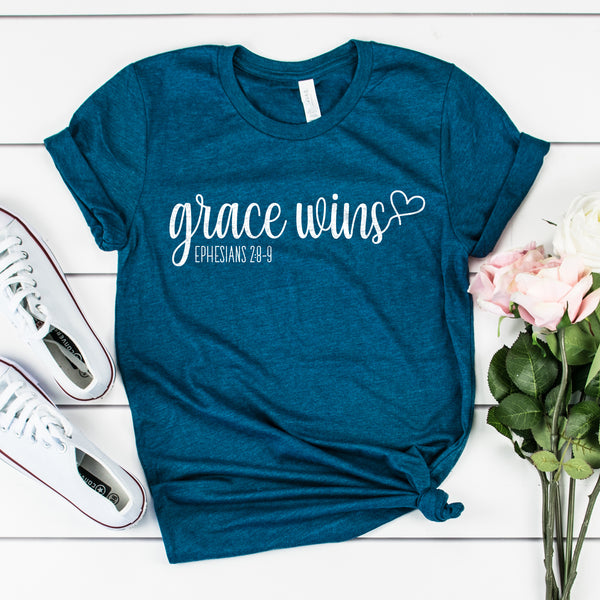 Grace Wins Short Sleeve Shirt - Bella Faith - Christian Shirts for Women - Women's Faith Based Apparel - Christian Clothing for Women - Christian Jewelry and Gifts for Women - Trendy Christian Tees