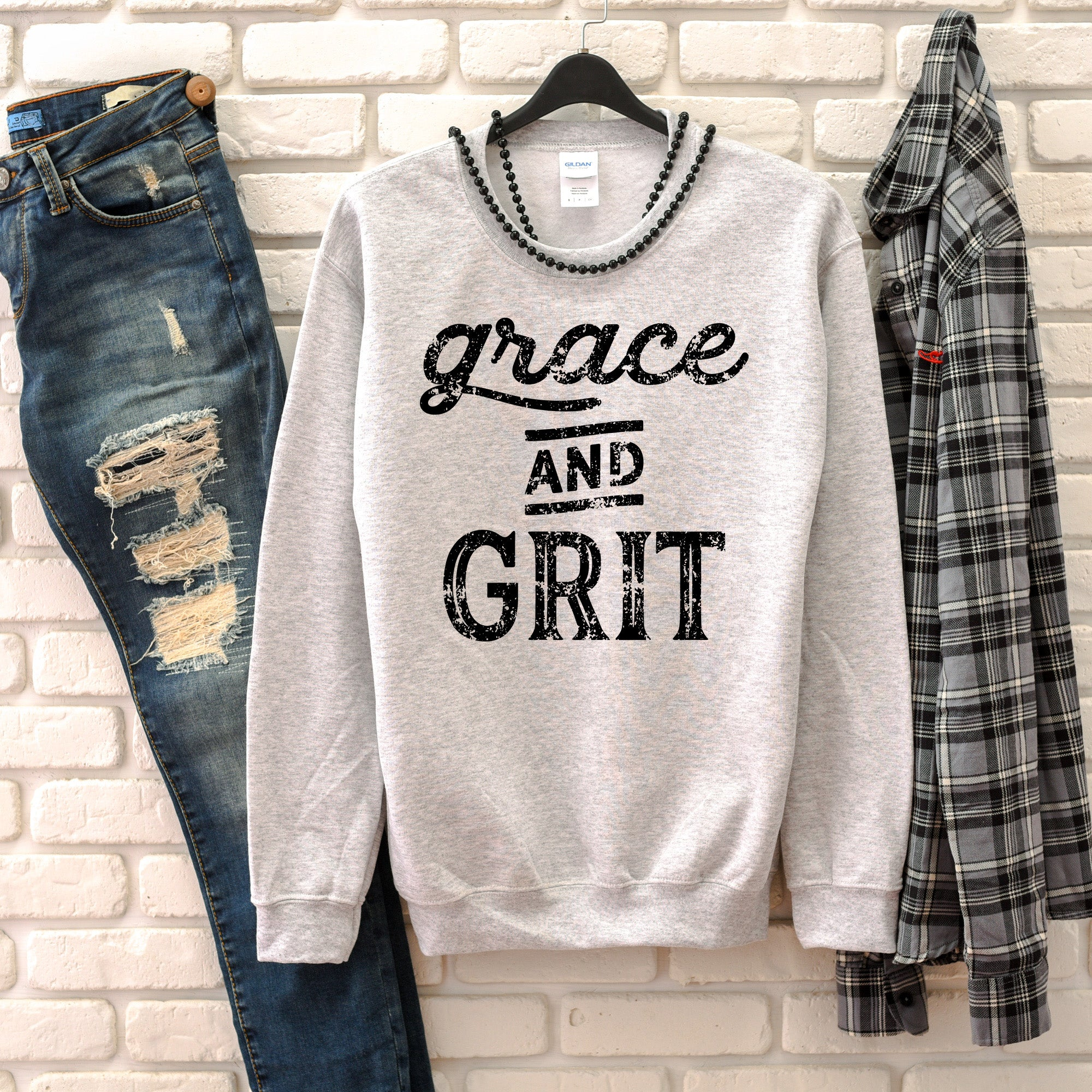 Grace and Grit Sweatshirt - Bella Faith - Christian Shirts for Women - Women's Faith Based Apparel - Christian Clothing for Women - Christian Jewelry and Gifts for Women - Trendy Christian Tees