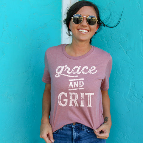 Grace and Grit Short Sleeve Shirt - Bella Faith - Christian Shirts for Women - Women's Faith Based Apparel - Christian Clothing for Women - Christian Jewelry and Gifts for Women - Trendy Christian Tees