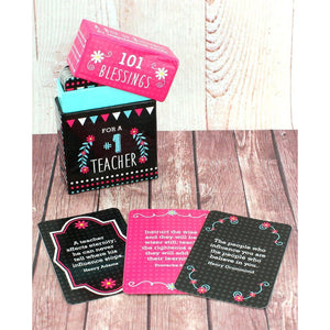 101 Blessings For a #1 Teacher Cards - Bella Faith - Christian Shirts for Women - Women's Faith Based Apparel - Christian Clothing for Women - Christian Jewelry and Gifts for Women - Trendy Christian Tees