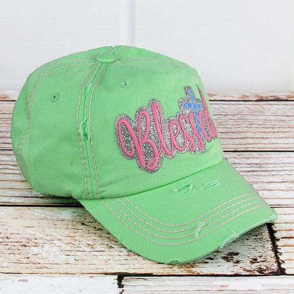 Distressed Glitter 'Blessed' Cap - Mint Green - Bella Faith - Christian Shirts for Women - Women's Faith Based Apparel - Christian Clothing for Women - Christian Jewelry and Gifts for Women - Trendy Christian Tees