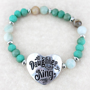 Silvertone 'Daughter Of The King' Turquoise Beaded Stretch Bracelet - Bella Faith - Christian Shirts for Women - Women's Faith Based Apparel - Christian Clothing for Women - Christian Jewelry and Gifts for Women - Trendy Christian Tees