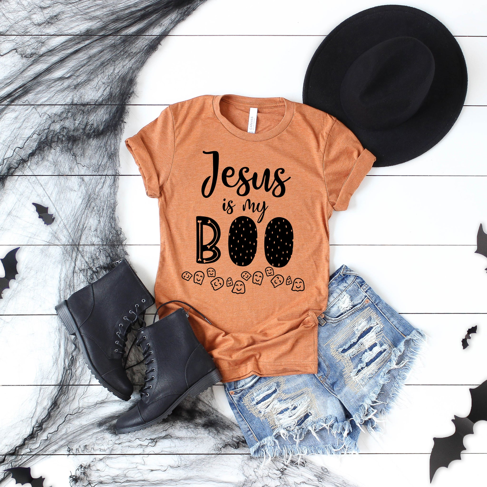 Jesus Is My Boo Halloween Short Sleeve Shirt - Bella Faith - Christian Shirts for Women - Women's Faith Based Apparel - Christian Clothing for Women - Christian Jewelry and Gifts for Women - Trendy Christian Tees