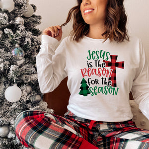 Jesus is the Reason for the Season Shirt  - Christmas Shirts for Women - Long Sleeve Christian Christmas Shirt for Women - Religious Christmas Tees