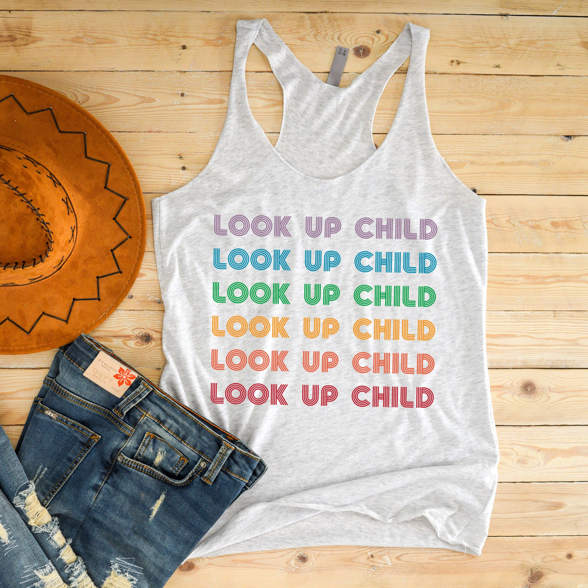 Look Up Child Racerback Tank Top - Bella Faith - Christian Shirts for Women - Women's Faith Based Apparel - Christian Clothing for Women - Christian Jewelry and Gifts for Women - Trendy Christian Tees
