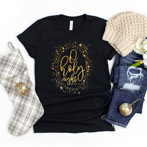 O Holy Night Gold Foil Shirt - Christmas Shirt for Women - Oh Holy Night Tee - Christian Shirts for Women