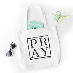 Pray Tote Bag - Bella Faith - Christian Shirts for Women - Women's Faith Based Apparel - Christian Clothing for Women - Christian Jewelry and Gifts for Women - Trendy Christian Tees