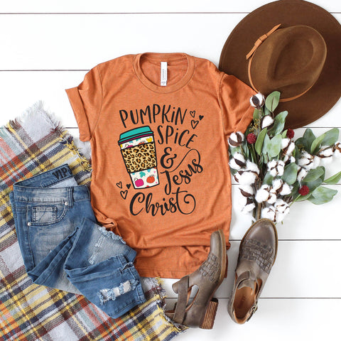 Pumpkin Spice & Jesus Christ Short Sleeve Shirt - Bella Faith - Christian Shirts for Women - Women's Faith Based Apparel - Christian Clothing for Women - Christian Jewelry and Gifts for Women - Trendy Christian Tees
