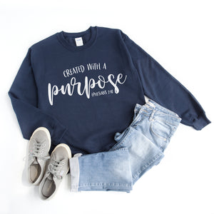 Created with a Purpose Sweatshirt - Bella Faith - Christian Shirts for Women - Women's Faith Based Apparel - Christian Clothing for Women - Christian Jewelry and Gifts for Women - Trendy Christian Tees