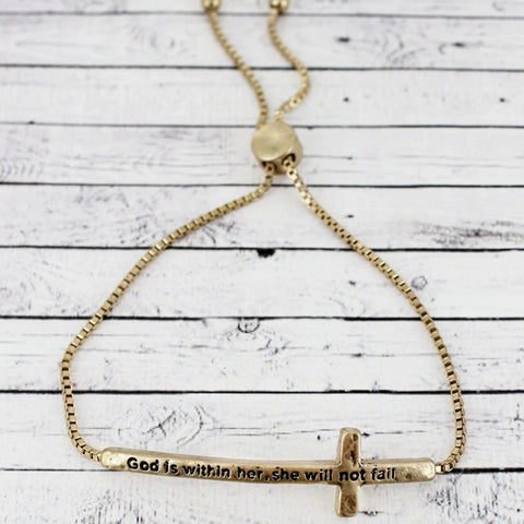 She Will Not Fail Cross Bolo Bracelet - Bella Faith - Christian Shirts for Women - Women's Faith Based Apparel - Christian Clothing for Women - Christian Jewelry and Gifts for Women - Trendy Christian Tees