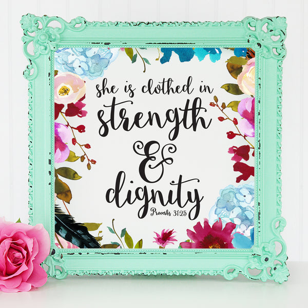 She is Clothed in Strength and Dignity Wall Print - Bella Faith - Christian Shirts for Women - Women's Faith Based Apparel - Christian Clothing for Women - Christian Jewelry and Gifts for Women - Trendy Christian Tees