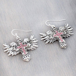 Pink Crystal Accented Silvertone Winged Cross Earrings - Bella Faith - Christian Shirts for Women - Women's Faith Based Apparel - Christian Clothing for Women - Christian Jewelry and Gifts for Women - Trendy Christian Tees