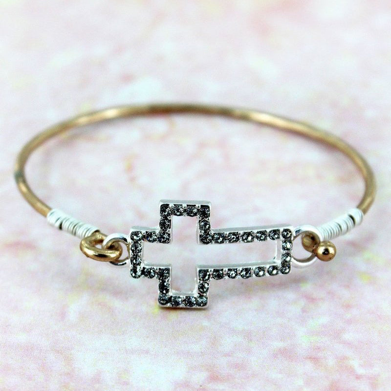Silvertone Crystal Pave Cut-Out Cross Goldtone Bangle - Bella Faith - Christian Shirts for Women - Women's Faith Based Apparel - Christian Clothing for Women - Christian Jewelry and Gifts for Women - Trendy Christian Tees