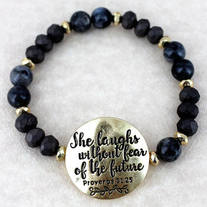 She Laughs Without Fear of the Future Stretch Bracelet - Bella Faith - Christian Shirts for Women - Women's Faith Based Apparel - Christian Clothing for Women - Christian Jewelry and Gifts for Women - Trendy Christian Tees