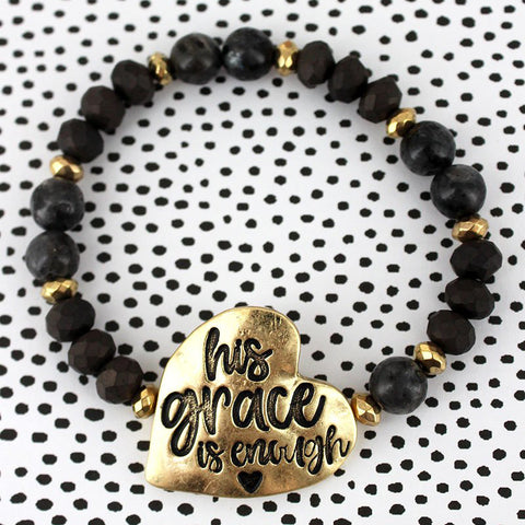 His Grace Is Enough Black Beaded Stretch Bracelet - Bella Faith - Christian Shirts for Women - Women's Faith Based Apparel - Christian Clothing for Women - Christian Jewelry and Gifts for Women - Trendy Christian Tees