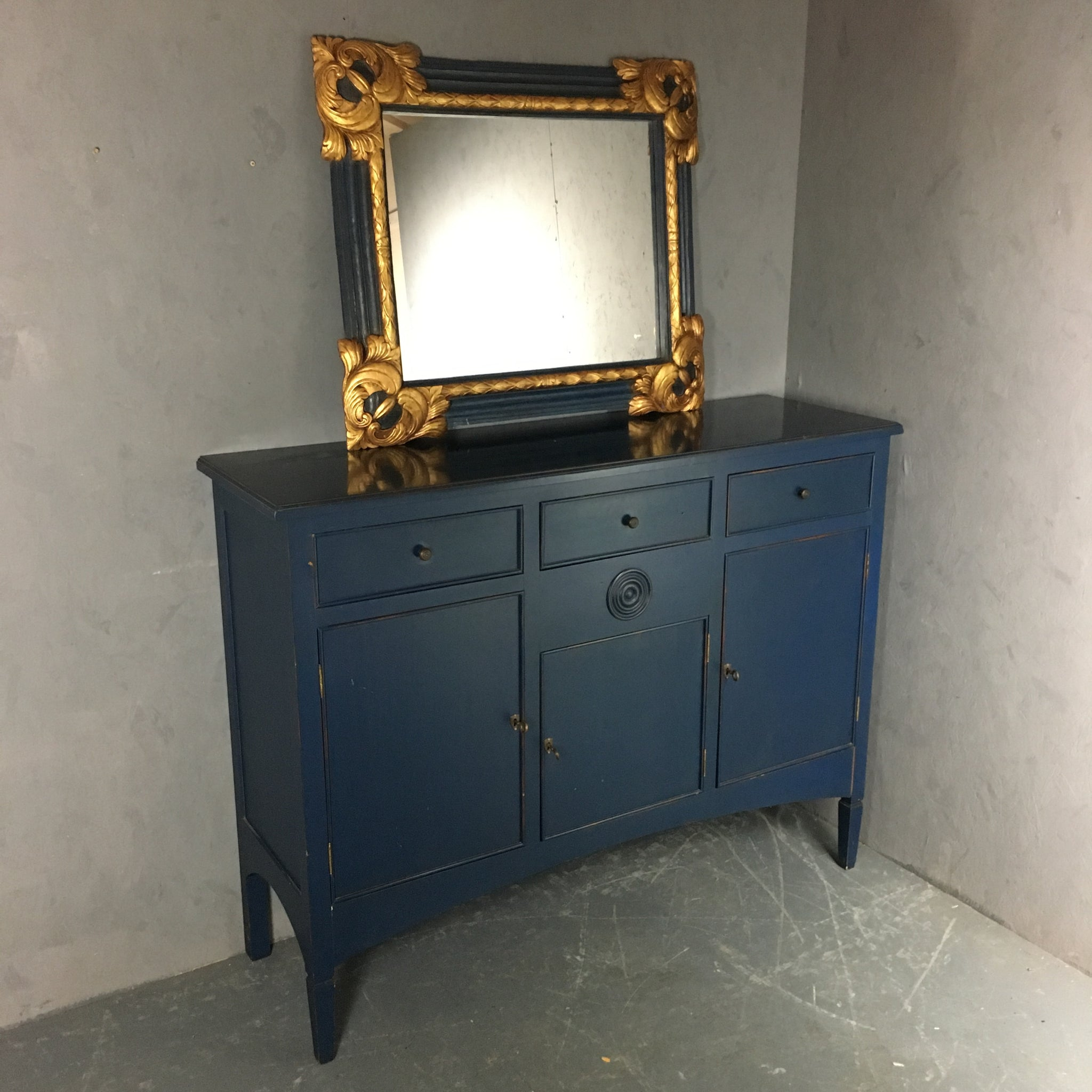 Large Side Board With Gilded Mirror Bank Antiques