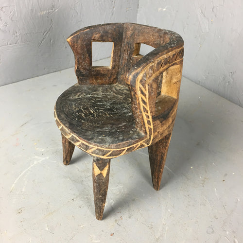 Hand Carved Tiny Wooden Chair