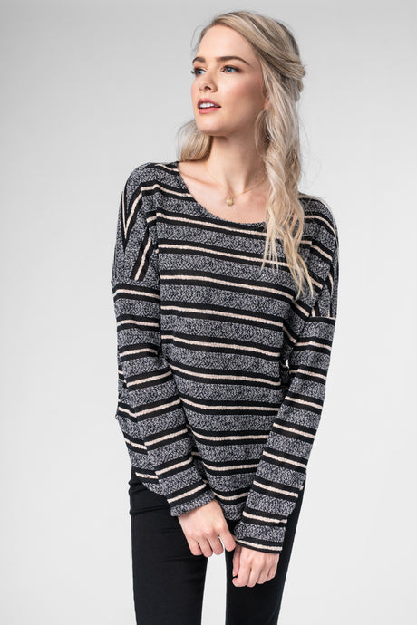 Gray Stripe Long Sleeve Thermal