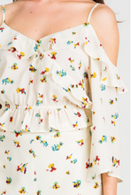 Load image into Gallery viewer, Ivory Floral Cold Shoulder Crop
