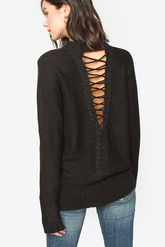 Lace Up Cutout Sweater