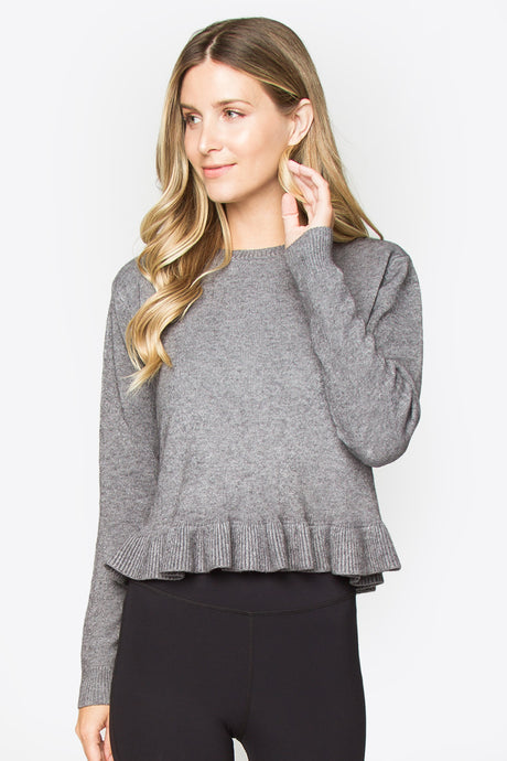 Grey Ruffle Hem Sweater