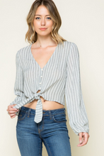 Load image into Gallery viewer, Grey Stripe Crop Top