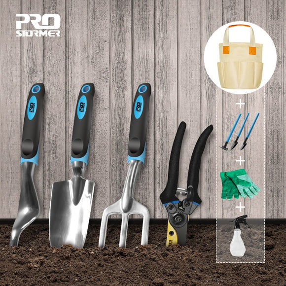 PROSTORMER 10 PCS Garden And Bonsai Shovel Tool Set Garden Scissors With Gloves Gardening Gifts With Trowel Pruners Budama Makas