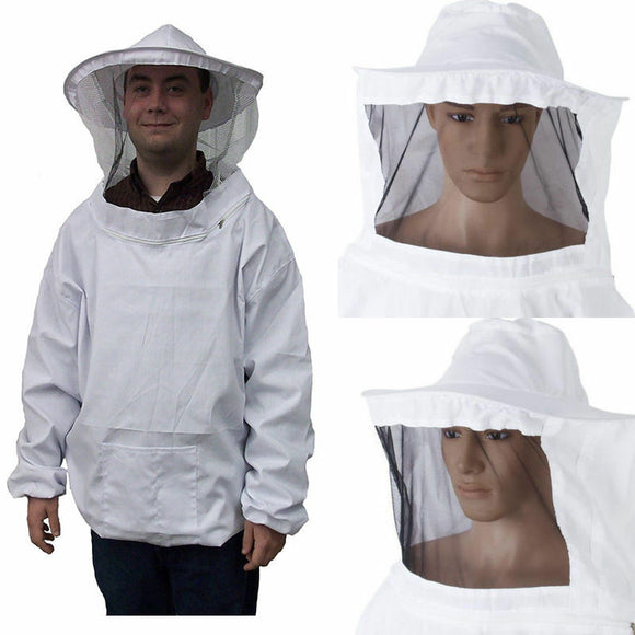 Protective Beekeeping Jacket Veil Smock Equipment Bee Keeping Hat Sleeve Suit