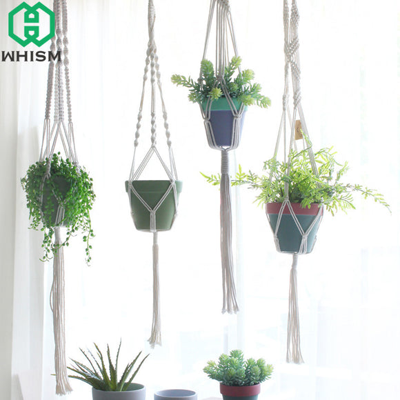 WHISM Vintage Hanging Basket Flower Basket Holder Flowerpot Lifting Rope Macrame Plant Hanger Garden Pot Planter Display String