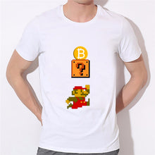 Load image into Gallery viewer, Men's Pocket Bitcoin Cartoon Cool Funny T-shirts Cryptocurrency Ethereum Bit Coin Coin T Shirts For Man Round Neck White Tshirts