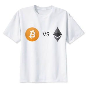 Men's Pocket Bitcoin Cartoon Cool Funny T-shirts Cryptocurrency Ethereum Bit Coin Coin T Shirts For Man Round Neck White Tshirts