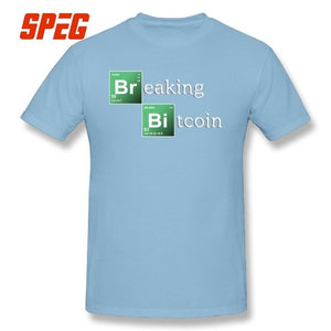 T-Shirts Men Breaking Bitcoin Cryptocurrency Blockchain 100% Cotton Novelty T Shirts Original Short Sleeves O Neck Tee