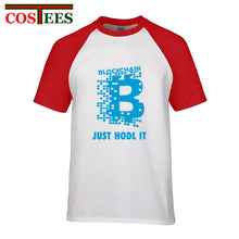 Load image into Gallery viewer, Bitcoin T shirt men Bitcoin Cryptocurrency Blockchain T Shirt Just Hodl it Design tshirt Short Sleeve Fashion T-Shirt customized