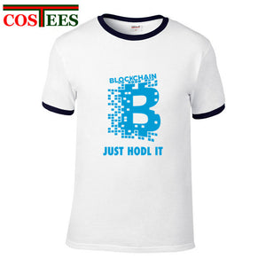 Bitcoin T shirt men Bitcoin Cryptocurrency Blockchain T Shirt Just Hodl it Design tshirt Short Sleeve Fashion T-Shirt customized