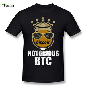 Fashion Streetwear Man Funny Bitcoin Cryptocurrency Crypto Crown The Notorious BTC T-Shirts Brand Tee Shirts
