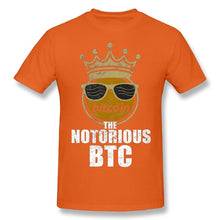 Load image into Gallery viewer, Fashion Streetwear Man Funny Bitcoin Cryptocurrency Crypto Crown The Notorious BTC T-Shirts Brand Tee Shirts