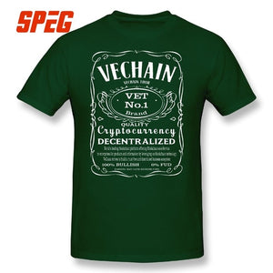 VeChain Thor VET Cryptocurrency Man's T Shirts Summer Round Neck 100% Cotton T-Shirt High Quality Short Sleeves Tees Plus Size
