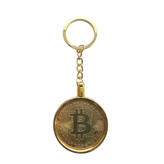 Gold Plated Bitcoin Coin Collectible Gift Keychain