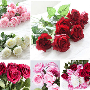 Hot Artificial False Latex Silk Roses Flowers Wedding Party Home Bouquet Decor